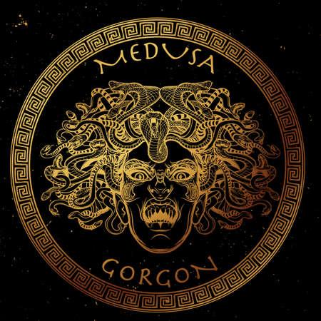 Medusa Gorgon. Oude Griekse mythologische schepsel met het gezicht van een vrouw en slang haar. Folklore, legendarisch beest. Het concept van Halloween. Hand getrokken schets kunstwerk.
