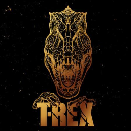 Detallado dibujo del estilo del bosquejo de la cabeza tirannosaurus rex rugido. Bestia celebración de T-Rex signo en sus garras. Oro esboza en el fondo negro.