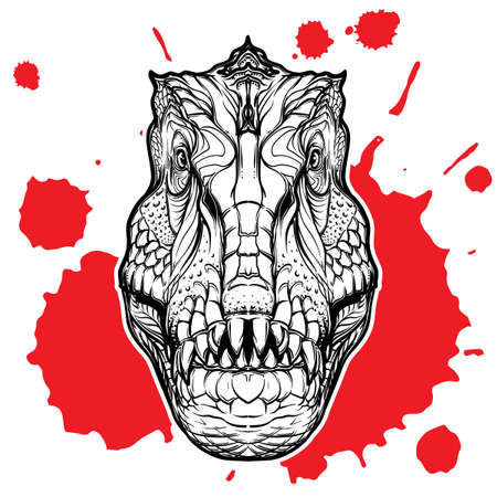 Detailed sketch style drawing of the tirannosaurus rex head isolated on white background with a red blood spot.
