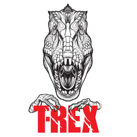 Detailed sketch style drawing of the roaring tirannosaurus rex head. Beast holding T-Rex sign in its claws.