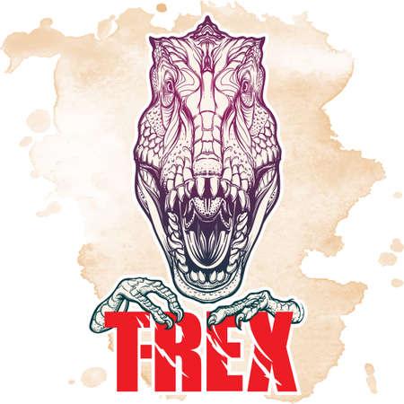 Detallado dibujo del estilo del bosquejo de la cabeza tirannosaurus rex rugido. Bestia celebración de T-Rex signo en sus garras. fondo del grunge.
