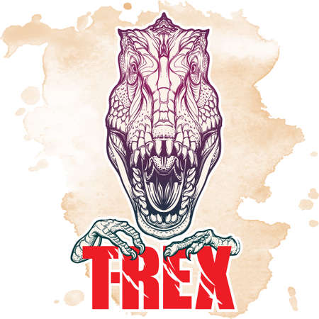 Detailed sketch style drawing of the roaring tirannosaurus rex head. Beast holding T-Rex sign in its claws. Grunge background. Illustration
