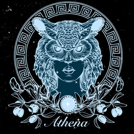 Athena goddess of ancient greek myths.. Beautiful woman in an owl mask. Tattoo design, occult character. Halloween concept art. Nightsky background with stars. Illustration