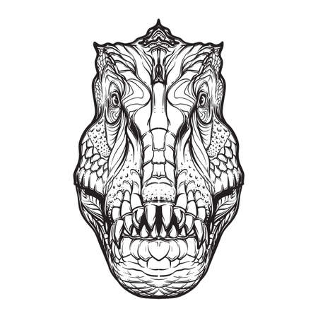carnage: Detailed sketch style drawing of the tirannosaurus rex head isolated on white background. Paleonthology illustration. Tattoo design. Coloring book illustration.