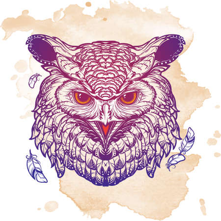 Beautiful detailed illustration of an owl head in frontal view. Coloring book for adults illustration. Sybol of wisdom and knowledge. Mystic halloween concept art. Vettoriali