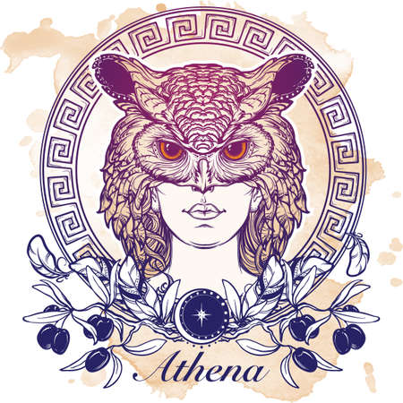 minerva: Athena goddess of ancient greek myths. Beautiful woman in an owl mask. Owl as a symbol of Athena. Circular Meander ornament and Olive branch. Mystic halloween concept art.