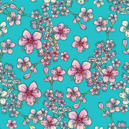 Temperate flowers seamless pattern. Meadowsweet and oak flowers. Tender delicate colors. Fresh spring floral design for textile print. Blue background.
