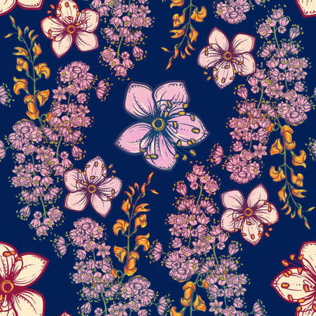 Temperate flowers seamless pattern. Meadowsweet and oak flowers. Tender delicate colors. Fresh spring floral design for textile print. Dark Blue background. Illustration