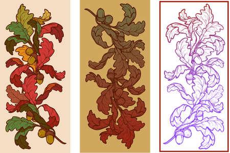elaborate: Fall Festival vignette set. Greeting card, or poster design element. Autumn oak leaves in different styles. Elaborate hand drawing. Vintage design. Illustration