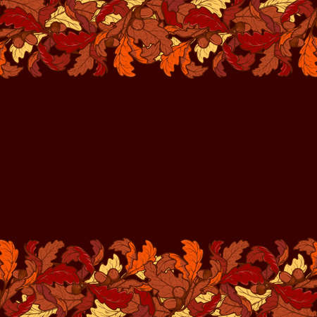 elaborate: Fall Festival border. Greeting card or poster template. Bright colorful autumn leaves isolated on square white background. Elaborate hand drawing. Illustration