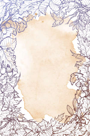 elaborate: Fall Festival vertical frame or border. Greeting card,or poster template. Sketch style autumn leaves on grunge background. Elaborate hand drawing. Vintage design.