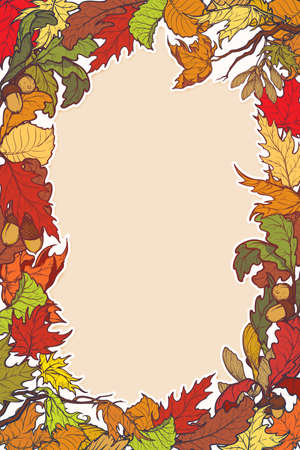 Fall Festival frame or border. Vertical orientation. Greeting card, or poster template. Bright colorful autumn leaves. Intricate complex hand drawing. Illustration