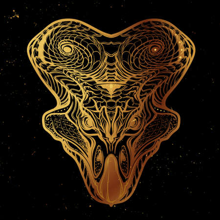 mesozoic: Hand Drawn detailed sketch of the Protoceratops head. Intricate decorative scale ornament on the neck collar. Tattoo design. Gold on black nightsky background.