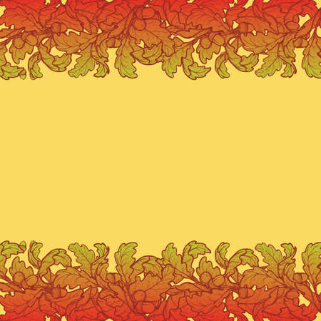 elaborate: Fall Festival border. Greeting card, flyer or poster template. Bright colourful autumn leaves isolated on square yellow background. Elaborate hand drawing. EPS10 vector illustration.