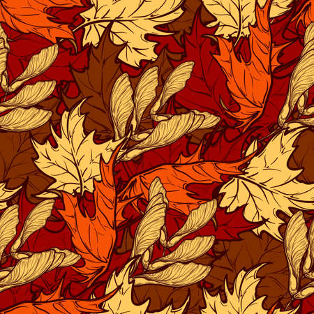 ocher: Autumn ocher and orange maple trees leaves and seeds. Detailed intricate hand drawing. Chaotic distribution of elements. Seampless pattern. EPS10 vector illustration. Illustration
