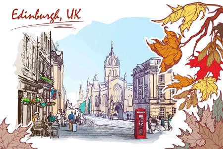 edinburgh: Royal Mile street panorama. Edinburgh, Scotland, the UK. Watercolor imitating painted sketch. EPS10 vector illustration.