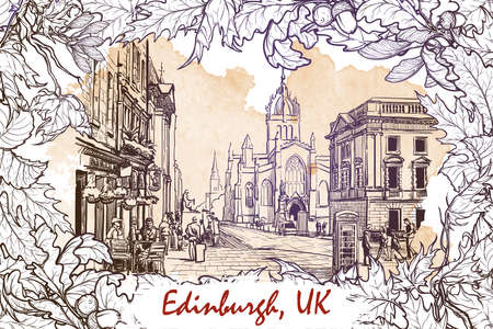 busy city: Royal Mile street panorama. Edinburgh, Scotland, the UK. Sketch imitating ink pen drawing with a grunge background on a separate layer. EPS10 vector illustration.