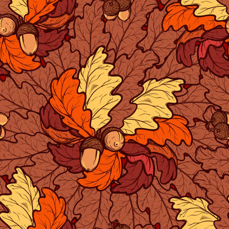 Autumn red and ocher oak leaves and acorns. Detailed intricate hand drawing. Chaotic distribution of elements. Seampless pattern. EPS10 vector illustration. Stock Photo