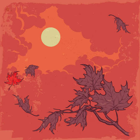 stormy sky: Wind stripping leaves off the Maple branch. Stormy sky background. Autumn mood. Hand drawn sketch with watercolor imitation. EPS10 vector illustration. Illustration