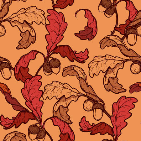 ocher: Autumn red and ocher oak leaves and acorns. Detailed intricate hand drawing. Chaotic distribution of elements. Seampless pattern. EPS10 vector illustration. Illustration