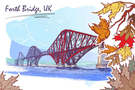 touristic: Firth of Forth cantilever railway bridge panorama. Autumn maple leaves frame. Seasonal greeting card or banner. Watercolor imitating painted sketch. EPS10 vector illustration. Illustration