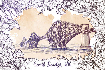 forth: Firth of Forth cantilever railway bridge panorama. Autumn maple leaves frame. Seasonal greeting card or banner. Watercolor imitating painted sketch. EPS10 vector illustration. Illustration