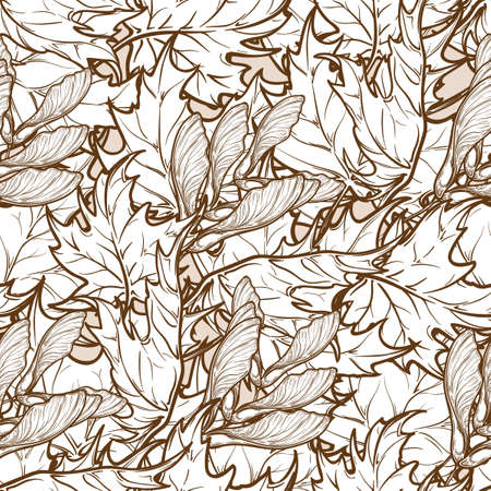 ocher: Autumn ocher and orange maple trees leaves and seeds. Detailed intricate hand drawing. Chaotic distribution of elements. Seamless pattern. EPS10 vector illustration. Illustration