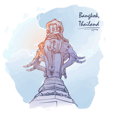 Statue fo Elephant in Bangkok. Travel sketchbook illustration. Architectural drawing. Watercolor imitating painted sketch. EPS10 vector illustration.
