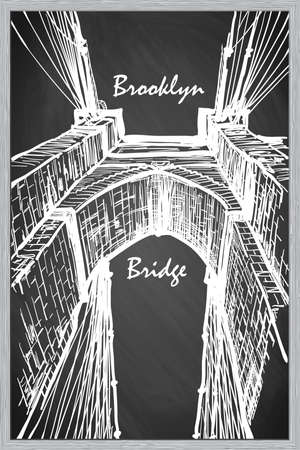 constructional: Brooklyn Bridge. Sketch imitating chalk drawing on a blackboard. Sketch is isolated on a separate layer. EPS10 vector illustration. Illustration