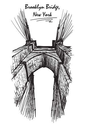 constructional: Brooklyn Bridge. Sketch isolated on white background. EPS10 vector illustration. Illustration