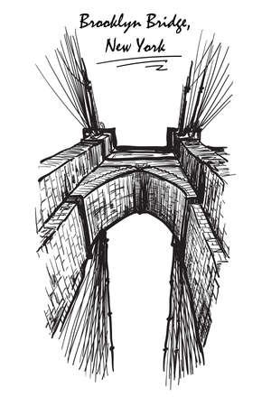 Ponte di Brooklyn. Sketch isolato su sfondo bianco. illustrazione vettoriale EPS10.