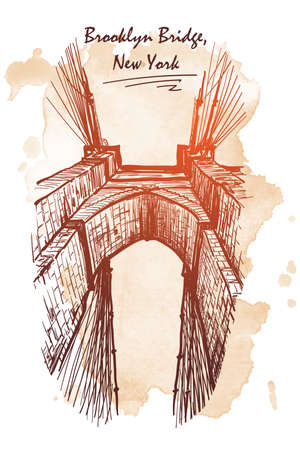 Brooklyn Bridge. Travel sketchbook picture. Architectural drawing with a grunge background on a separate layer. EPS10 vector illustration.