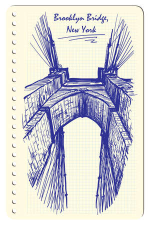 constructional: Brooklyn Bridge. Sketch imitating ink pen scribbling in a notepad. Sketch is isolated on a separate layer. EPS10 vector illustration.
