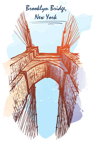 Brooklyn Bridge. Travel sketchbook illustration. Architectural drawing. Watercolor imitating painted sketch. EPS10 vector illustration.