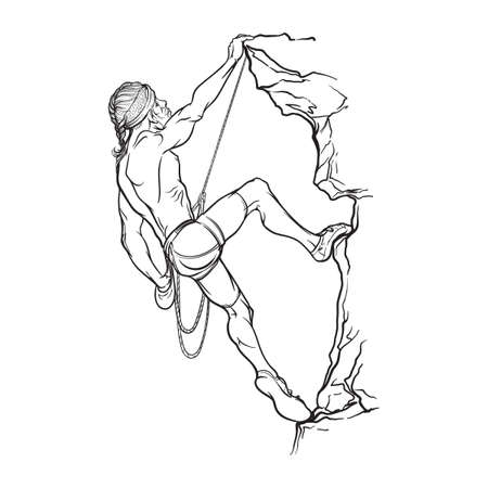 man long hair: Rock climber.  Athletic man climbing up the cliff. Black sketch Isolated on white background. EPS10 vector illustration.