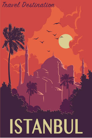 byzantine: Sunset panorama of Istanbul with silhouettes of trees and Hagia Sophia. Retro poster design. Vintage style poster. EPS10 vector illustration.
