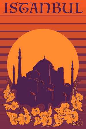 Sunset panorama Istanbul with Hagia Sophia silhouette and trumpetbush flowers vigniette. Retro poster design. EPS10 vector illustration. Illustration