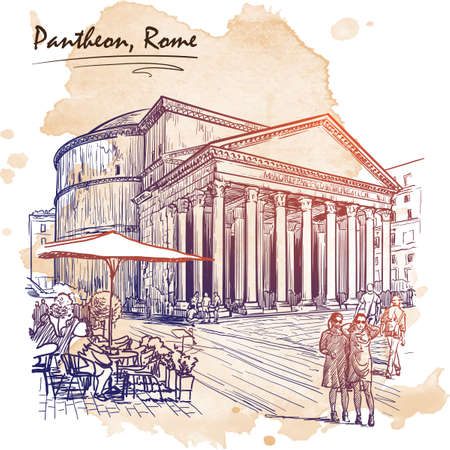 rotunda: City life scene in Rome. Pantheon and groups of people wandering around. Architectural drawing with a grunge background on a separate layer. Travel sketchbook illustration. EPS10 vector illustration.