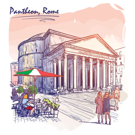 city life: City life scene in Rome. Pantheon and groups of people wandering around. Watercolor imitating painted sketch. EPS10 vector illustration. Illustration