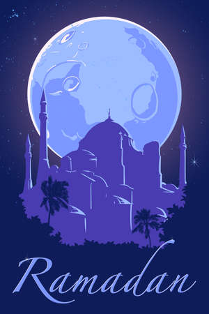 hagia sophia: Moon and silhouette of Hagia Sophia mosque on dark blue night sky background with silver stars. Ramadan festive poster. Muslim community celebration flyer. EPS10 vector illustration.