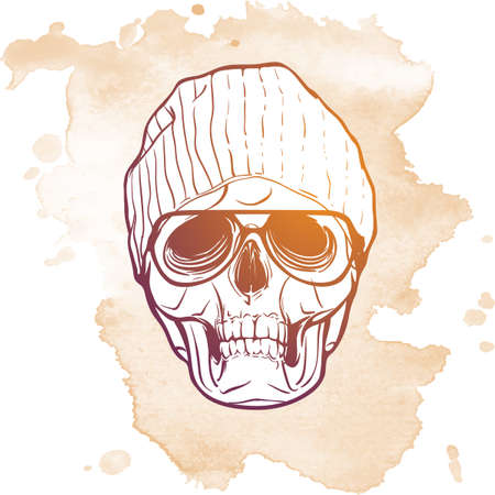 ironic: Hipster style human skull in a trendy knitted hat and glasses. Hand drawn sketch on a watercolor spot. Halloween concept. EPS10 vector illustration.
