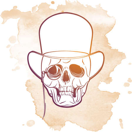 old fashioned: Victorian style human skull wearing eyeglasses mustache and bowler hat. Halloween concept art. Hand drawn sketch on a watercolor spot. EPS10 vector illustration.