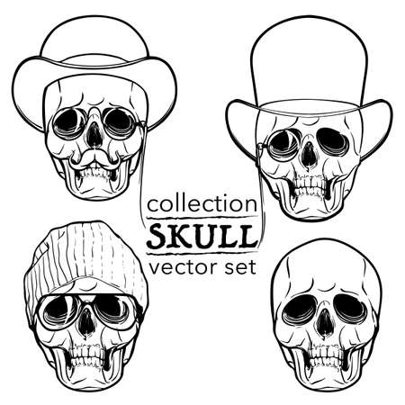 ironic: Hipster style human skull set. Hand drawn sketch isolated on a white background. Halloween concept art. EPS10 vector illustration.