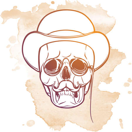 ironic: Victorian style human skull wearing eyeglasses mustache and bowler hat. Halloween concept art. Hand drawn sketch on a watercolor spot. EPS10 vector illustration.
