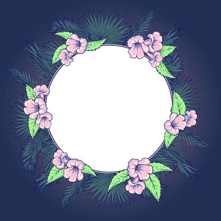 palm wreath: Tropical thicket. Palm tree leaves and  trumpetbush flowers wreath. Trendy blue background summer design template. Decorative symmetrical circular frame. EPS10 vector illustration.