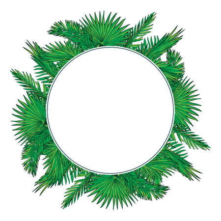 palm wreath: Tropical thicket. Palm tree leaves and yellow trumpetbush flowers wreath. Summer design template. Decorative symmetrical circular frame. EPS10 vector illustration. Stock Photo