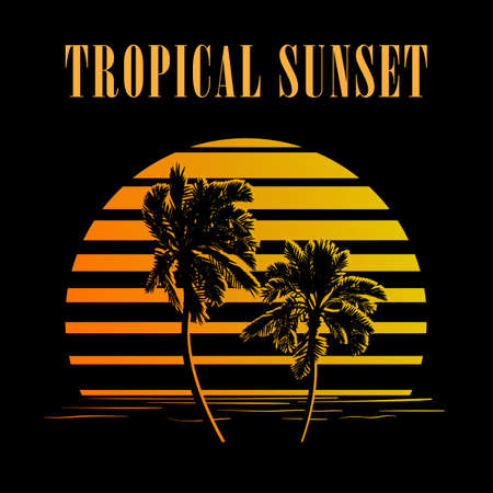 sunset palm trees: Summer holiday design. Tropic sunset. Palm trees silhouettes on black and golden stripes. Minimalistic style logo. EPS10 vector illustration.