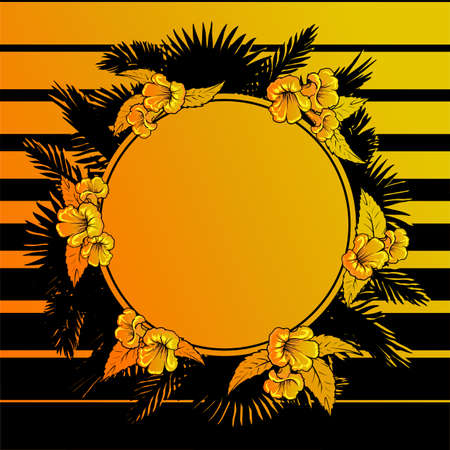 palm wreath: Summer holiday design. Flower garland and palm tree leaves frame. Black and golden stripes background. EPS10 vector illustration.