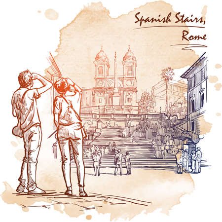 spanish steps: Spanish Steps with tourists wandering around and a young couple at the front. Sketch imitating ink pen drawing with a grunge background on a separate layer. EPS10 vector illustration.