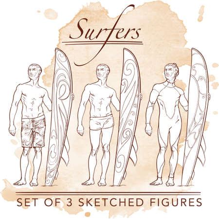 skintight: Set of 3 sketched surfer  front view figures. Hipster style looking young surfers wearing different swimwear. Sketch and silhouette. Grunge background. EPS10 vector illustration.